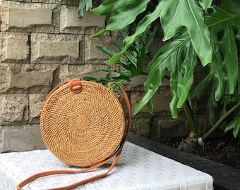Small Round Rattan Bag, Bali Bag, Round Ata Bag, Round Bag, Straw Bag, Summer Bag