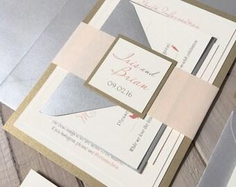 Blush, Ivory and Gold Wedding Invitations, Blush, Silver and Light Gold Wedding Invitations, Gold and Pink Invitations, Silver and Gold