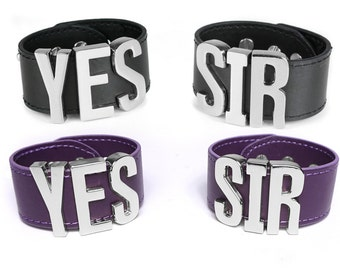 Harley Quinn Suicide Squad Cosplay YES SIR Cuff Bracelets Replica, Costume, Cosplay, Halloween, HarleyQuinn - BIG Letters - Silver