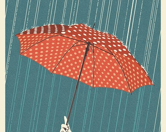 McMinnville, Oregon - Umbrella - Letterpress (Art Prints available in multiple sizes)