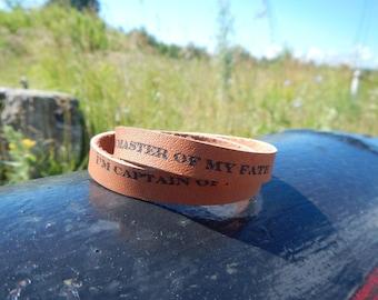 Thin brown wrap leather bracelet  I'm captain of my life, wrap leather bracelet, custom leather bracelet, leather bracelet, leather wrap,