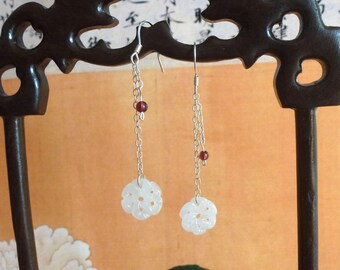 Flower Earrings Jadeite type A natural, silver, jade gemstone Garnet gift for her. MOOD ASIAN, Chinese Jewelry