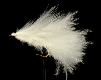Marabou Leech Natural / White Sizes 4 6 8 Available Best Fly Fishing Flies