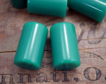 Quality Vintage Green Acrylic Beads Short Tube Beads Green Onyx Color Tube Bead (2) SV31