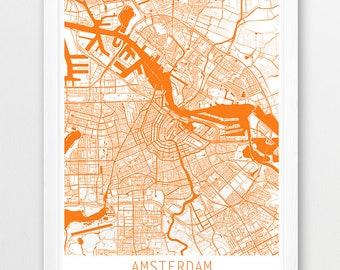 Amsterdam City Urban Map Poster, Amsterdam Street Print, Amsterdam Netherlands White Orange Map, Modern Wall Art, Home Decor, Printable Art