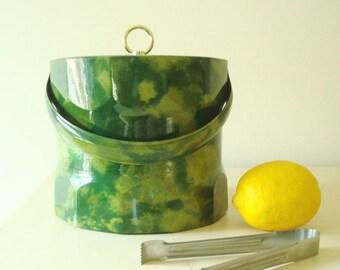 Vintage ice bucket, green & yellow swirl patent leather with tongs, 1960-70s barware, tie dye look, green ice bucket, swanky bar decor