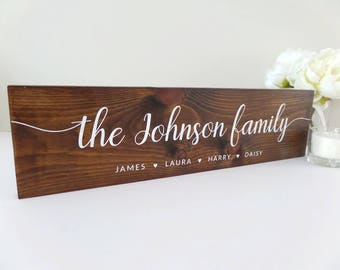 """Family Name Sign Large 31.5"""" (80cm) - Wooden Rustic Sign - Personalised Name Sign - Family Tree - Family Gift - New Home Gift - Custom Sign"""