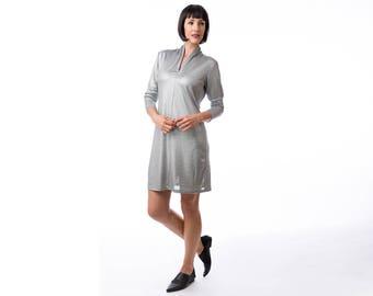 Silver dress ,Evening mini dress,sparkly dress , winter dress, sequin dress, Long Sleeve Dress, Fashion Dress, Womens Winter Dresses