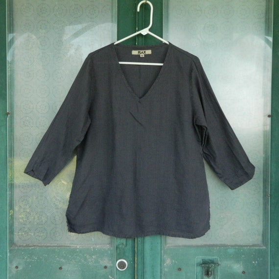 FLAX Engelheart Long Sleeve Pullover V-Neck Tunic -M- Dark Gray Linen