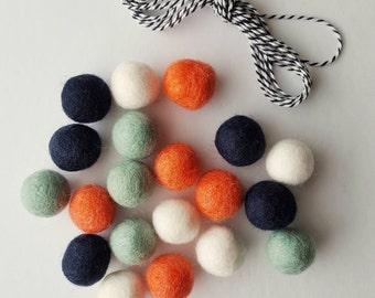 Felt Ball Garland Kit Teal / Mint Coral Navy White DIY Garland 20 2.5 cm Felt balls + 3 yds Twine