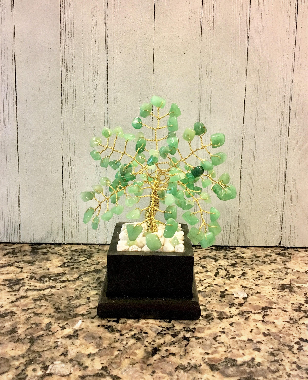 Edelstein-Draht-Bonsai-Baum des Lebens Stein Baum Skulptur