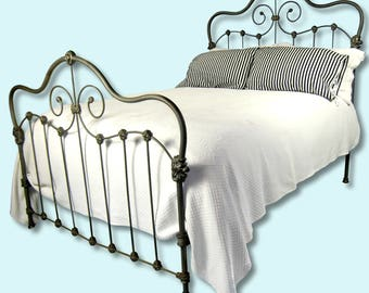 Antique Cast Iron Full Bed, antique cast iron queen bed, antique wrought iron bed, antique metal bed, antique steel bed, ornate antique bed