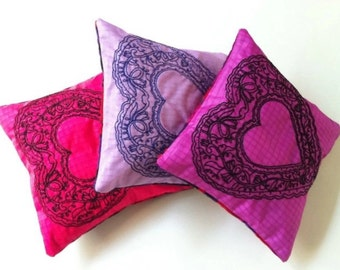 Lavender Sachets, Natural Eco Sachets,Recycled Paragliders, Set of Three Heart Sachets, Embroidered  Sachets, Valentine 's  Gift