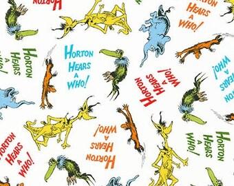 "Fabric Remnant, Horton Hears A Who, Adventure, Dr. Seuss Robert Kaufman Fabrics, 24"""