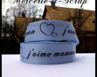 Satin ribbon I love MOM 25 blue meter heart 11 mm