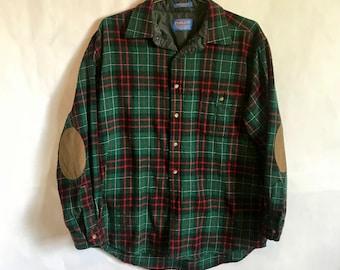 PENDLETON Mens Large Wool MacDiarmid Tartan Plaid Button Up Elbow Patches Green Black Red Shirt