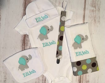 Personalized Baby Elephant Gift Set - Bodysuit, Burp Cloth and Bib