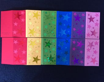 NEW STOCK! 12 Rainbow Card Pack #1