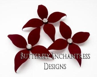 Bridal Hair Piece, Wedding Hair Accessories, Bridesmaid Gift, Crimson Red Flower Head Piece - 3 Burgundy Wynn Flower Hair Pins