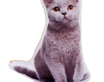 Adorable British Blue Cat Shaped Midi Cushion
