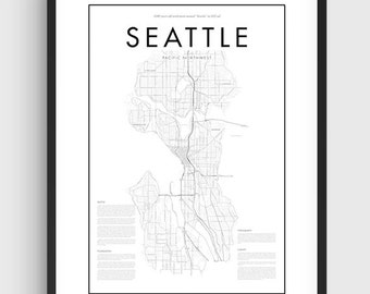 Minimal Seattle Map Poster, Black & White Minimal Print Poster, Art, Home Art, Minimal Graphics, Seattle Poster, Map Home Decor
