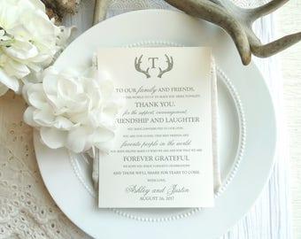 Wedding Reception Thank You Card   Wedding Thank You Card   Thank You Card   Thank You - Style TY15 - ANTLER COLLECTION
