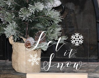 Let it Snow Acrylic Christmas Sign, Modern Christmas Decorations, Minimalist Christmas Decor, mantle decor, Christmas mantle, Gold Modern