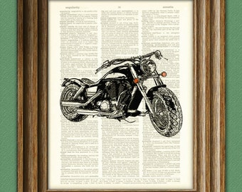 2011 Harley Davidson Motorcycle upcycled vintage dictionary page book art print