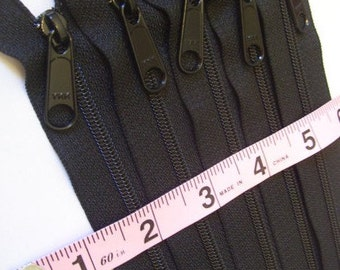 Wholesale zippers, Fifty black 9 inch Handbag zippers with long pull