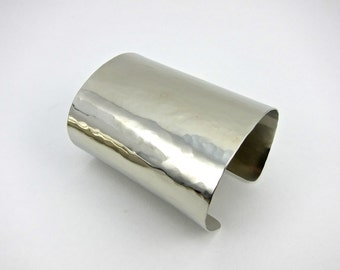 extra wide silver cuff bracelet, gently textured