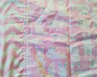 Toddler blanket - Quilt Cover - Kids blanket - Flannel Blanket - girls blanket -cotton blanket- Summer Blanket Travel blanket - pink bunny