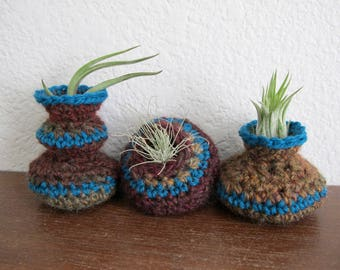 Air Plant Pots Crochet Pattern - Crocheted Vessels Collection Number One - Tillandsia Pots - PDF Crochet Pattern