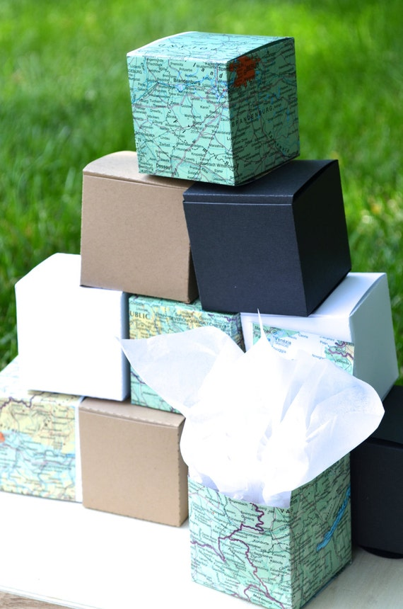 10 Favor Boxes in Vintage Atlas Maps, White Card Stock, Kraft Card Stock, Black Card Stock, or Red Card Stock. Perfect for weddings!