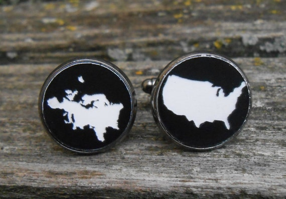 His & Hers Country Cufflinks. CHOOSE YOURS!  Black, White Acrylic. Wedding, Men's, Groomsmen Gift, Dad. U.S. EUROPE