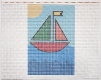Imperfect Needlepoint Sailboat Cheap