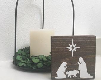 Nativity mini wood sign - Christmas inspired decor - Christ is born sign
