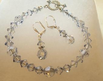 Christmas Gift Swarovski Jewelry Swarovski Crystal Bracelet and Earring Set Ice Blue Gray Crystal Bracelet Crystal Earrings