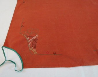 Vintage Linen - Vintage Hand Embroidered Bridge Cloth For a Card Table