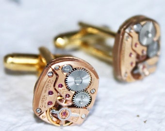 OMEGA Steampunk Cufflinks (Men) - Rare Rose Gold GENUINE OMEGA Luxury Swiss Vintage Watch Movement - Matching - Symbol of Prestige Men Gift