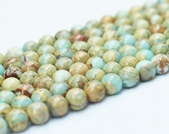 Aqua Terra Jasper Beads -- Smooth Loose Round Ball Bead Wholesale 4mm 6mm 8mm 10mm 12mm MHA-127