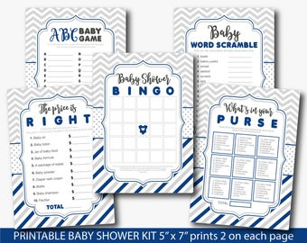 Navy blue baby shower games, Boy baby shower package, Navy blue Gray baby shower game pack, Baby shower set, Baby shower bundle, BY207