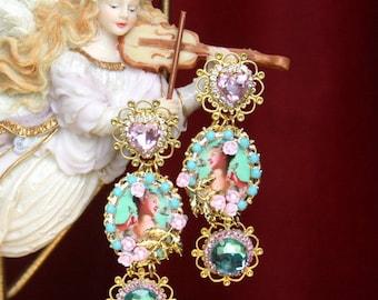 Marie Antoinette Victorian Massive Aqua Pink Cameo  Studs Earrings