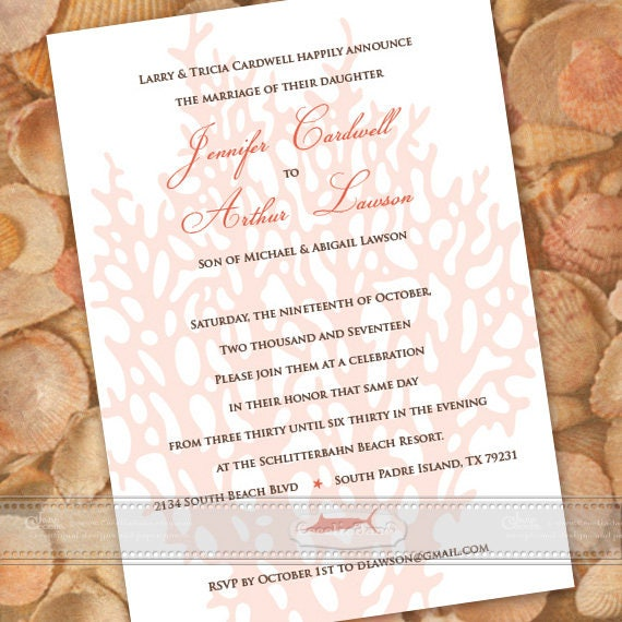 wedding invitations, coastal wedding invitations, beach wedding invitations, coral wedding invitations, bachelorette party invitation, IN344