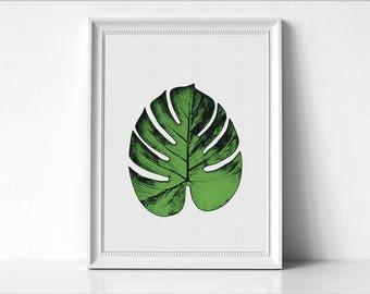 Monstera Leaf Print, Tropical Leaf Print, Monstera Leaf, Monstera Art Print, Monstera Leaf Art, Minimalist Art, Wall Print