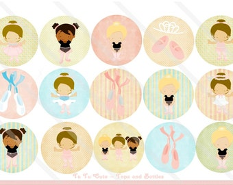 Tu Tu Cute Ballerina 1 Inch Circles Collage Sheet for Bottle Caps, Hair Bows, Scrapbooks, Crafts, Jewelry & More
