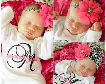 Baby Girl Coming Home Outfit Personalized Baby Clothes Newborn Girl Monogram Baby Gift Embroidered Baby Clothes Twin Girl Outfit Damask