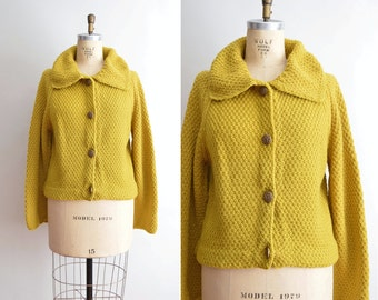 Vintage Cardigan, Hand Knit Sweater, Chunky Knit Sweater Coat Celtic Buttons, Womens Sweater L XL Plus Size, Oversized Cropped Boxy Sweater