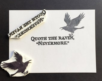 Poe and raven stamp, Quoth the raven hand carved stamp, rubber stamp, handmade stamp, card making supplies