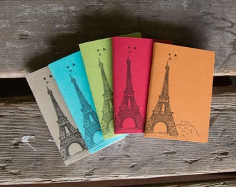 Eiffel Tower Notebooks, hand drawn and staple bound, letterpress printed eco friendly blank journal, blank page journal, gifts under 15