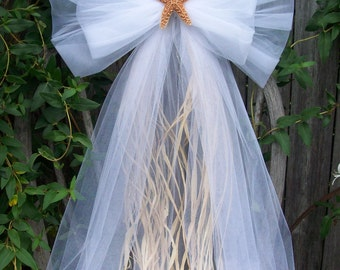 Beach Wedding Aisle Decor, Beach Chapel, Starfish Wedding Decor, Tulle Bow, Beach Pew Bows